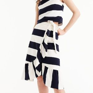 J.Crew Petite Rugby Knit Wrap Skirt Striped Ruffle